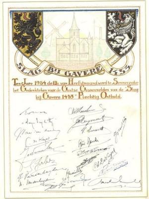 Herinnering aan de oprichting van een gedenkteken voor de Gentse gesneuvelden te Semmerzake