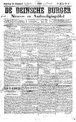 De Deinsche Burger: Zondag 21 januari 1883
