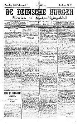 De Deinsche Burger: Zondag 18 februari 1883