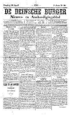 De Deinsche Burger: Zondag 22 april 1883