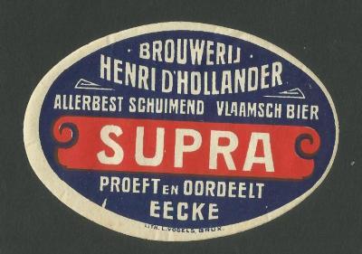 Het etiket van het Supra-bier