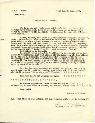 De plannen voor zomervakantie 1937 voor KSA Nazareth