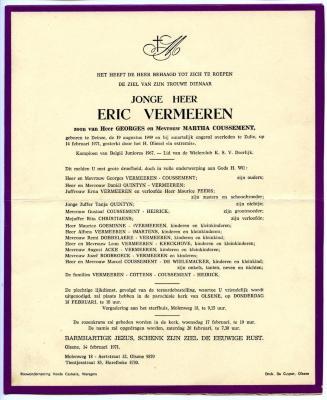 Doodsbrief van de beloftevolle wielrenner Eric Vermeeren