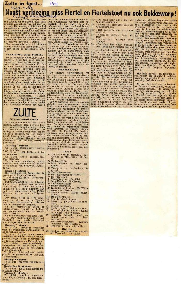 Krantenartikel over de firtel van 1974