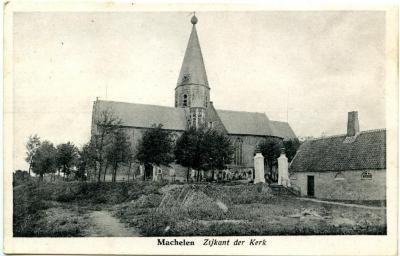 Zicht op de parochiekerk van Machelen-aan-de-Leie