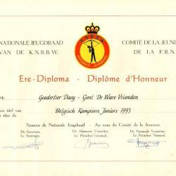 De ere-diploma's van schutter Davy Goedertier