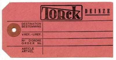 Orderlabel van de kinderwagen- en speelgoedfabrikant Torck