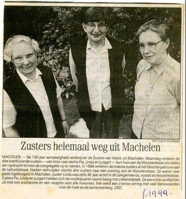 De laatste zusters verlaten Machelen-aan-de-Leie