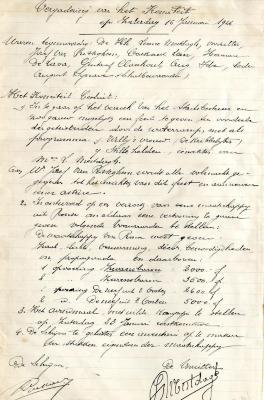 Algemene vergadering en avondmaal op 16 januari 1926