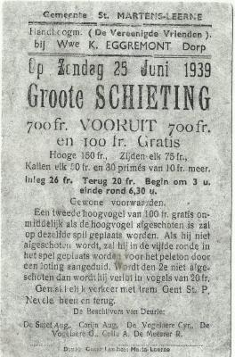 Aankondiging schutterswedstrijd in Sint-Martens-Leerne