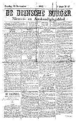 De Deinsche Burger: Zondag 25 november 1883