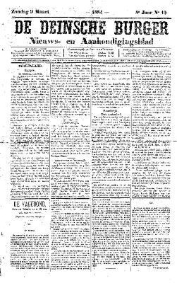 De Deinsche Burger: Zondag 92 maart 1884