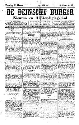 De Deinsche Burger: Zondag 30 maart 1884