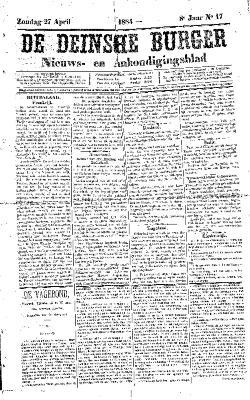 De Deinsche Burger: Zondag 27 april 1884