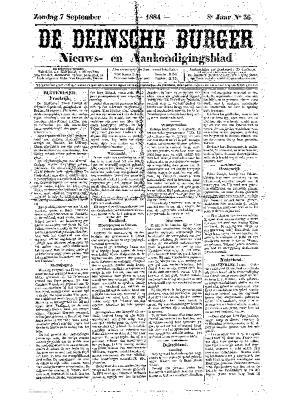 De Deinsche Burger: Zondag 7 september 1884