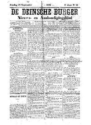 De Deinsche Burger: Zondag 28 september 1884