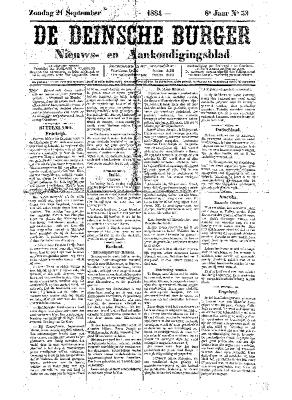 De Deinsche Burger: Zondag 21 september 1884