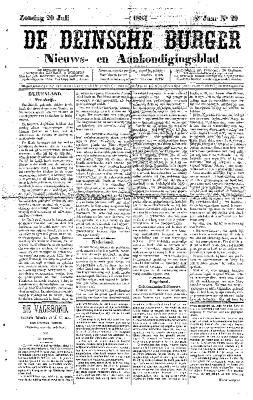 De Deinsche Burger: Zondag 20 juli 1884