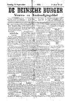 De Deinsche Burger: Zondag 14 september 1884