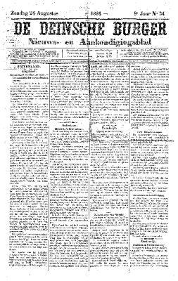 De Deinsche Burger: Zondag 24 augustus 1884