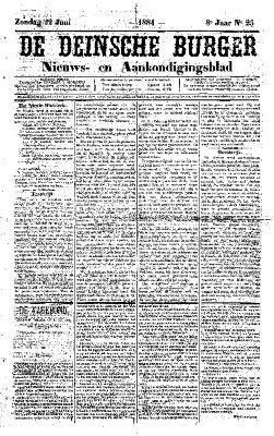 De Deinsche Burger: Zondag 22 juni 1884