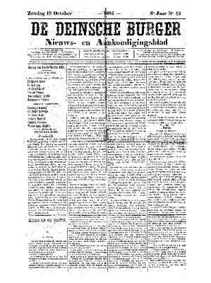 De Deinsche Burger: Zondag 19 oktober 1884