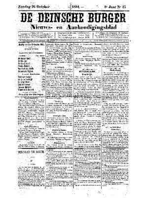 De Deinsche Burger: Zondag 26 oktober 1884
