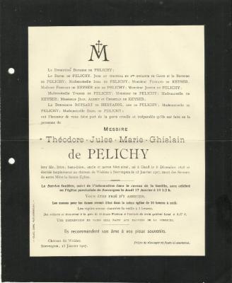 Doodsbrief van Théodore de Pelichy