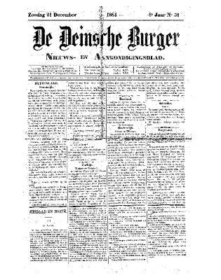 De Deinsche Burger: Zondag 21 december 1884