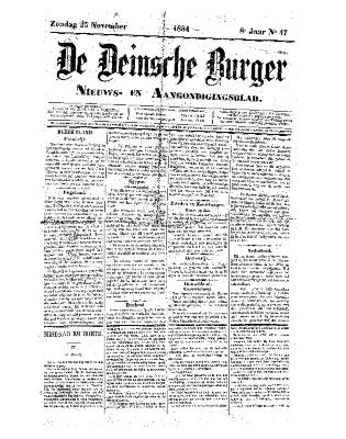 De Deinsche Burger: Zondag 23 november 1884